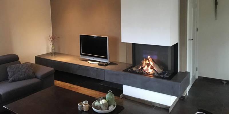 Ongebruikt Driezijdige gashaard incl. betoncire tv meubel   kachels.nl SQ-17
